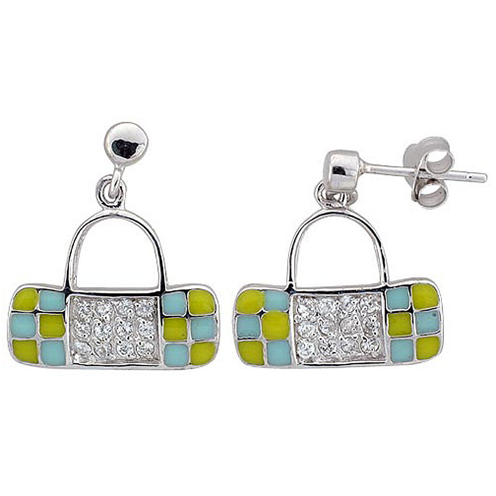 Sterling Silver Purse Dangling Earrings Cubic Zirconia Yellow & Blue Enamel Geometric Pattern