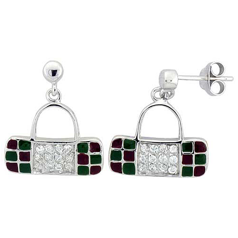 Sterling Silver Purse Dangling Earrings Cubic Zirconia Green & Red Enamel Geometric Pattern