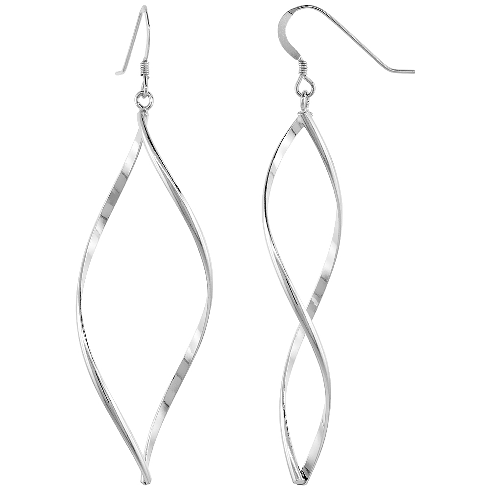Sterling Silver Whirl Dangle Earrings, 2 3/16 inches long