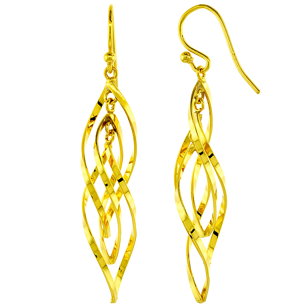 Sterling Silver Helical Dangle Earrings Yellow Plated, 1 7/16 inches long