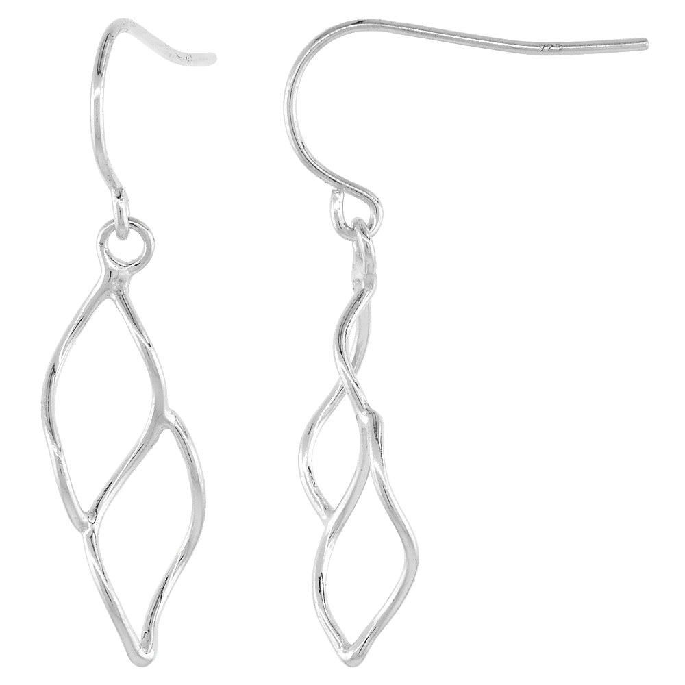 Sterling Silver Double Leaf Dangle Earrings, 13/16 inches long