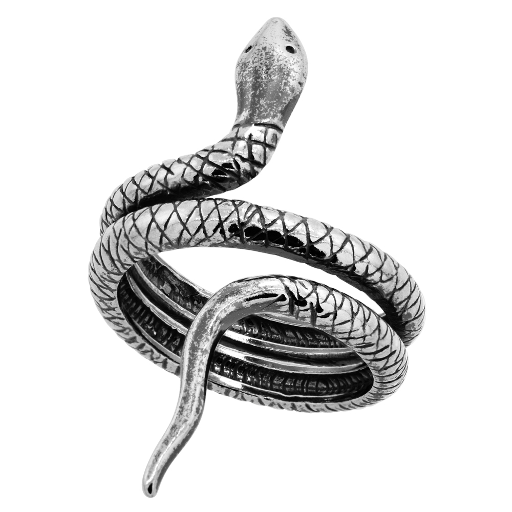 Sterling Silver Coiled Snake Ring Oxidized, sizes 5 - 8.5 with half sizes