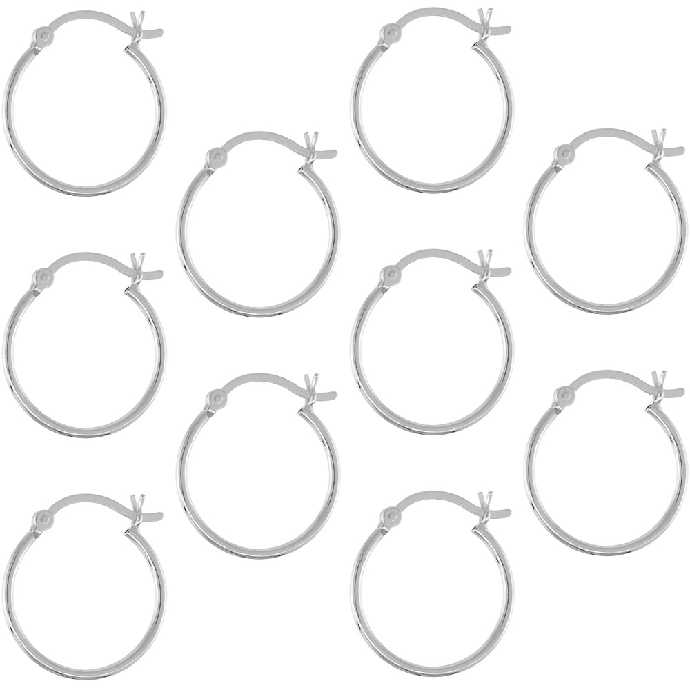 10 Pairs Sterling Silver Dainty 3/4 inch 18mm Hoop Earrings Women and Men Click Top Thin 1mm Tube