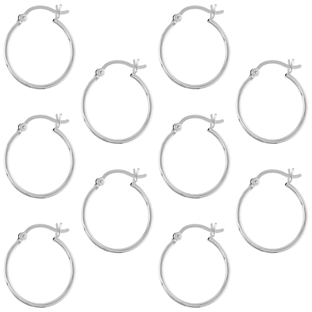 10 Pairs Sterling Silver Small 3/4 inch 20mm Hoop Earrings Women and Men Click Top Thin 1mm Tube