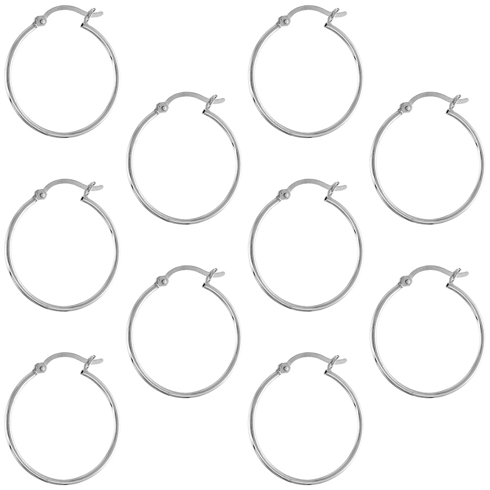 10 Pairs Sterling Silver 1 inch 20mm Hoop Earrings Women and Men Click Top Thin 1mm Tube