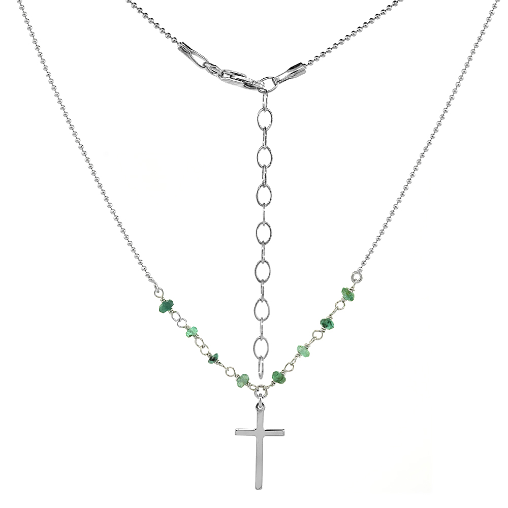 Sterling Silver Dainty Cross Necklace Genuine Emerald Beads Faceted Rhodium 16-18 inch