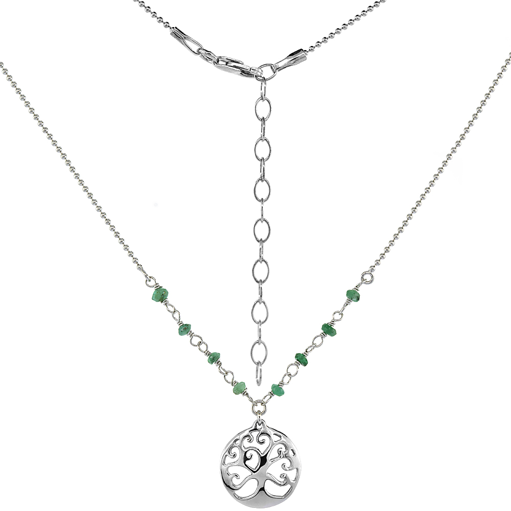 Sterling Silver Dainty Tree of Life Necklace Genuine emerald Beads Faceted Rhodium 16-18 inch