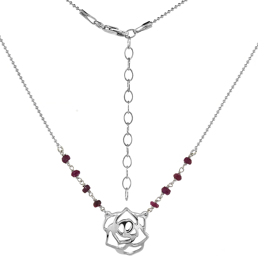 Sterling Silver Dainty Rose Flower Necklace Genuine Garnet Beads Faceted Rhodium 16-18 inch