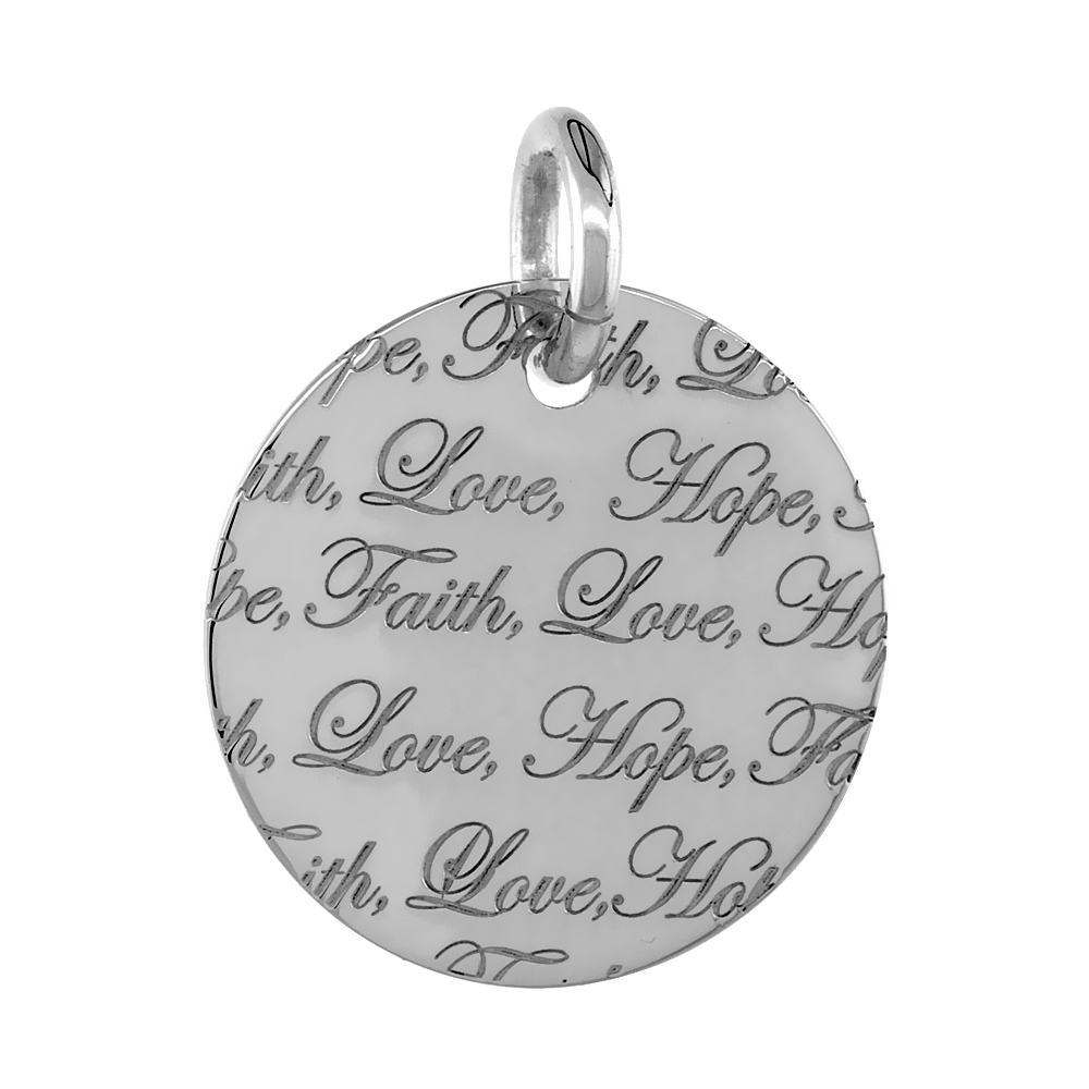 Sterling Silver FAITH LOVE HOPE Round Pendant, 30mm (1 3/16 inch) wide