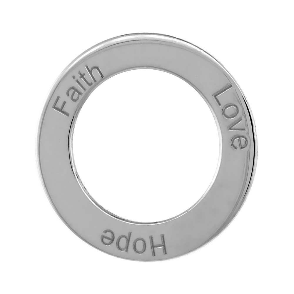 Sterling Silver FAITH LOVE HOPE Open Circle Disc Pendant, 21mm (13/16 inch) wide