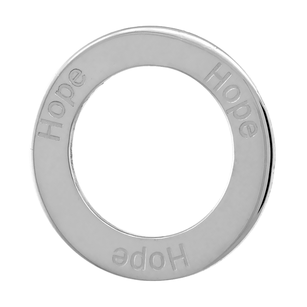 Sterling Silver HOPE Open Circle Disc Pendant, 21mm (13/16 inch) wide