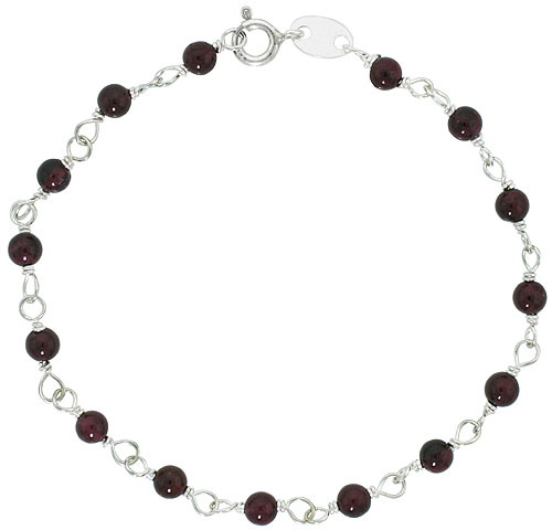 "Sterling Silver, 3/16"" (4 mm) Wrapped Natural Garnet Bead Necklace, Bracelet, Anklet (Available in All Sizes)"
