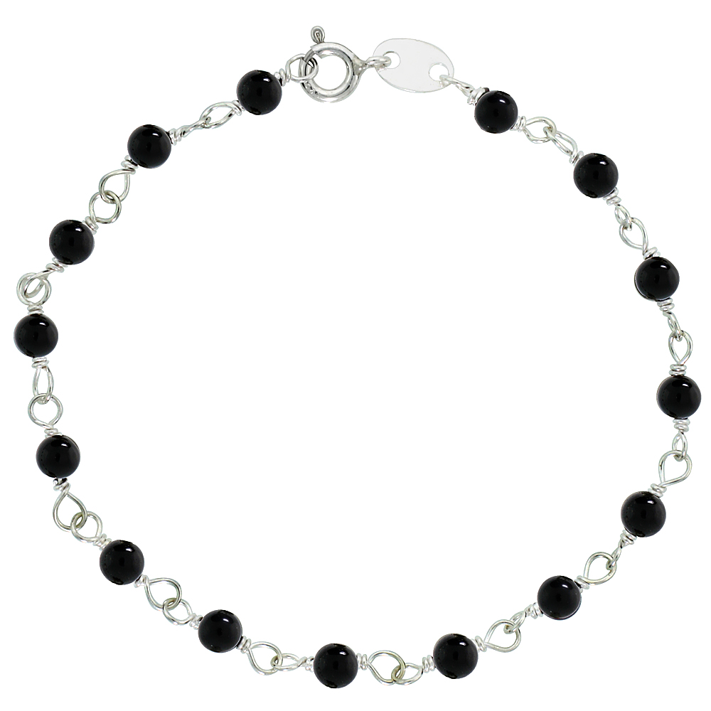 "Sterling Silver, 3/16"" (4 mm) Wrapped Natural Black Onyx Bead Necklace, Bracelet, Anklet (Available in All Sizes)"