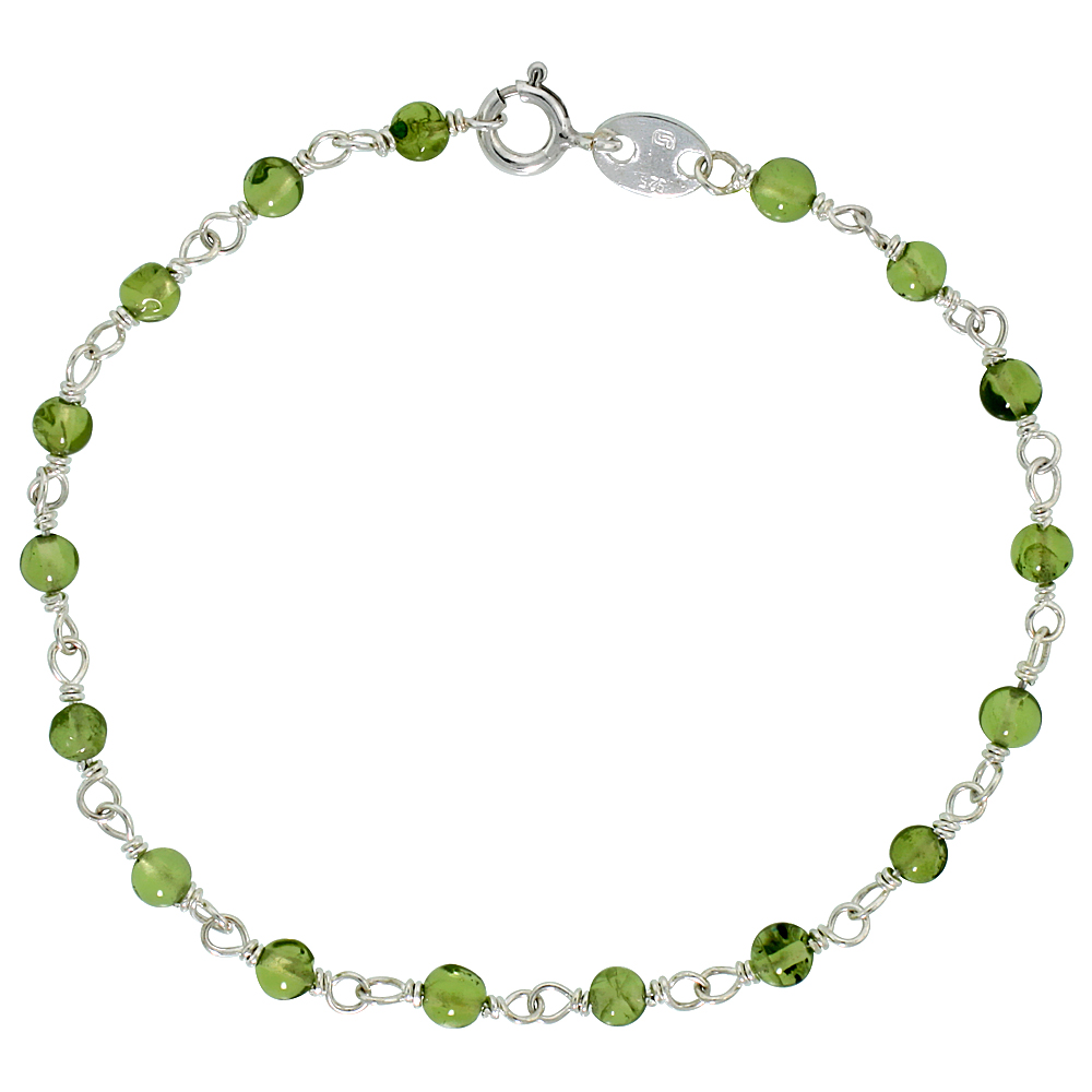Sterling Silver Natural Peridot Bead Necklace Bracelet Anklet 4 mm Wire Wrapped Handmade