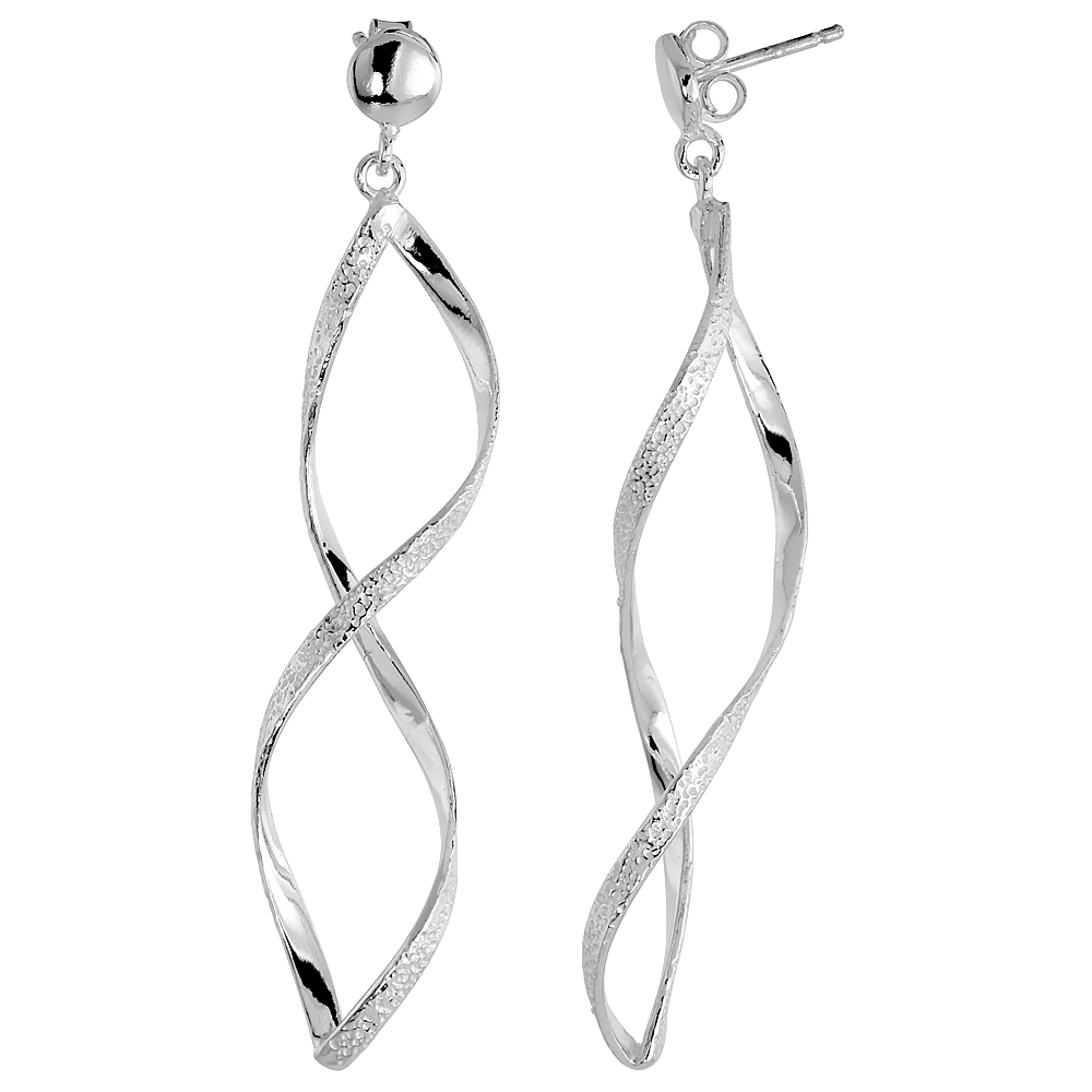 "Sterling Silver Textured Swirl Dangle Earrings, 2 5/16"" (59 mm) tall"