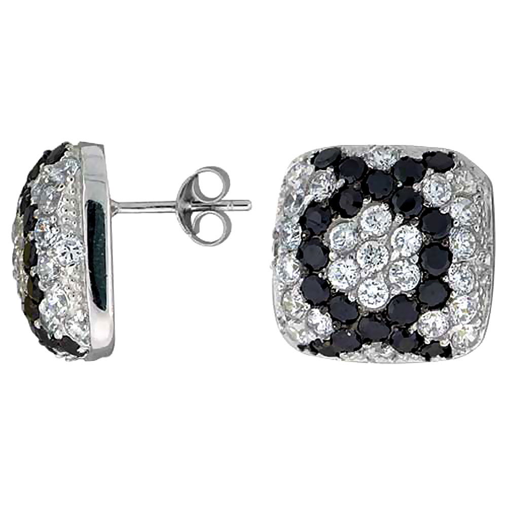 "Sterling Silver 5/8"" (16 mm) tall Jeweled Cushion-shaped Post Earrings, Rhodium Plated w/ High Quality Black & White CZ Stones"