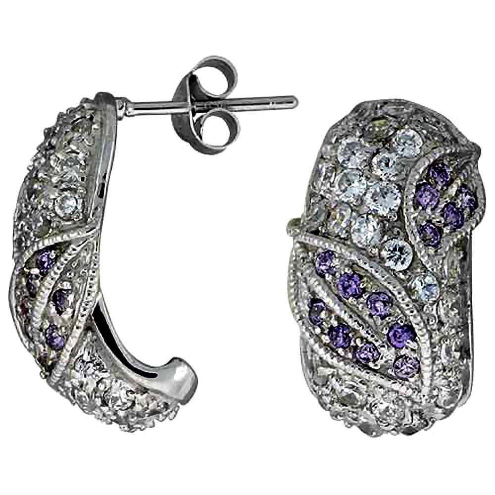 "Sterling Silver 3/4"" (20 mm) tall Jeweled Post Earrings, Rhodium Plated w/ High Quality CZ Stones"