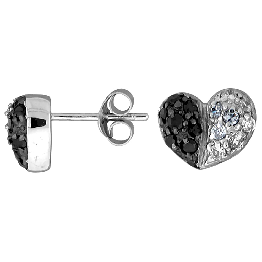 "Sterling Silver 5/16"" (8 mm) tall Jeweled Heart Post Earrings, Rhodium Plated w/ High Quality Black & White CZ Stones"