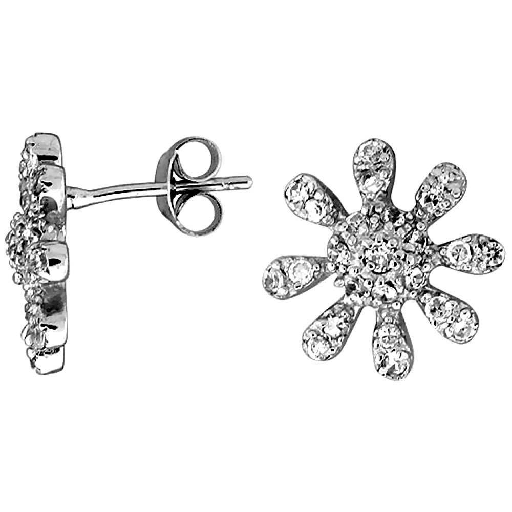 "Sterling Silver 1/2"" (13 mm) tall Jeweled Sun Post Earrings, Rhodium Plated w/ High Quality CZ Stones"