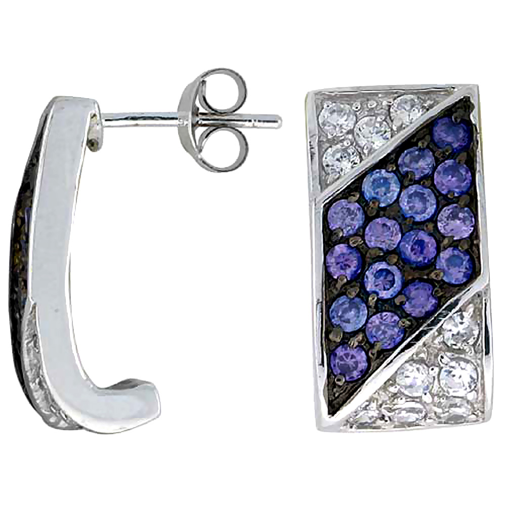 "Sterling Silver 3/4"" (19 mm) tall Jeweled Rectangular Post Earrings, Rhodium Plated w/ High Quality Synthetic Amethyst & White C"