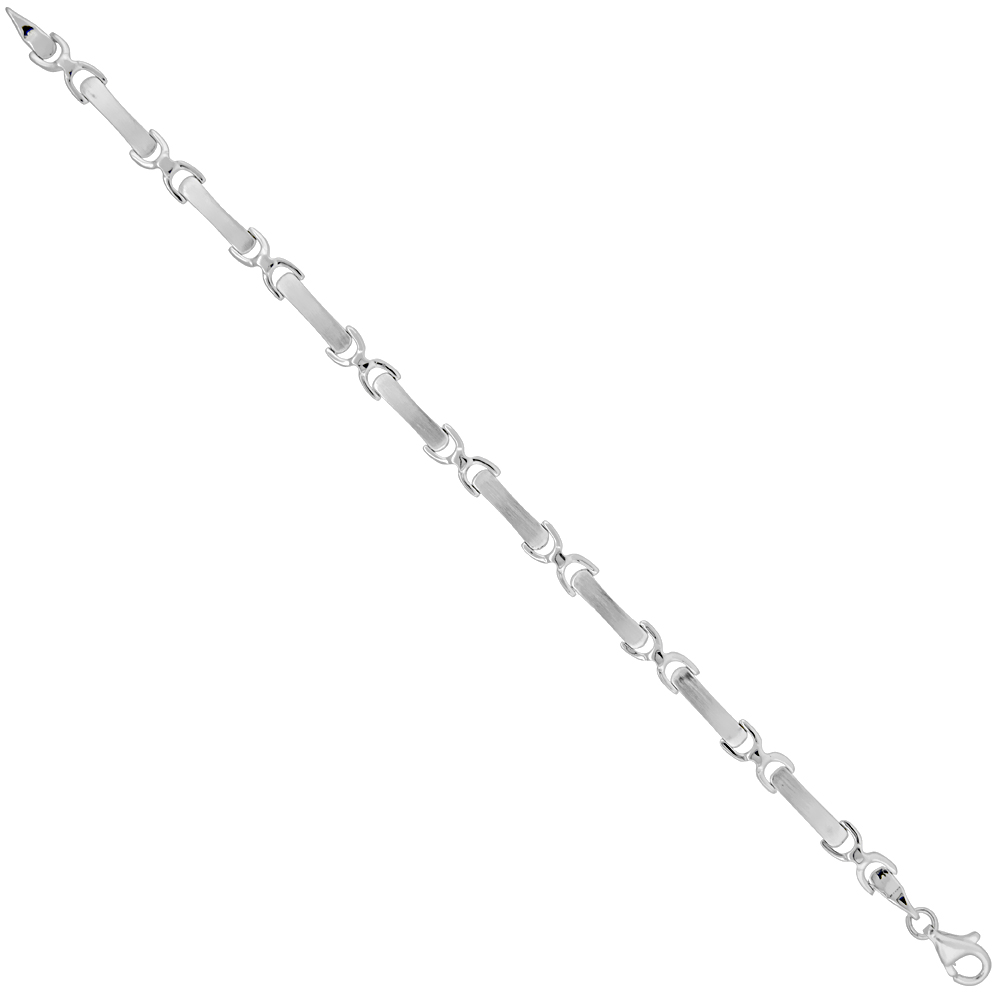 Sterling Silver Brushed Link Bracelet 3/16 inch wide, 7 inches long