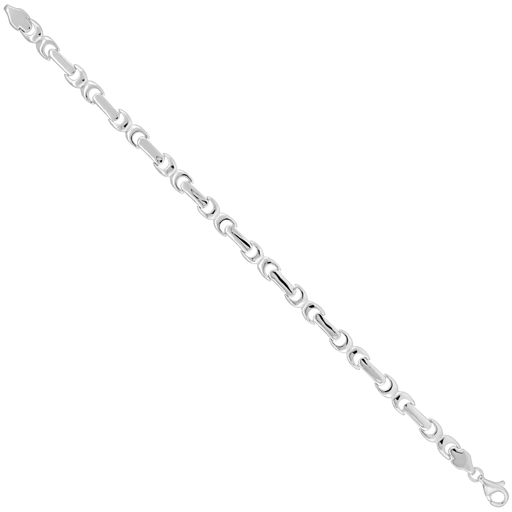 Sterling Silver Glossy Link Bracelet 1/4 inch wide, 7 inches long