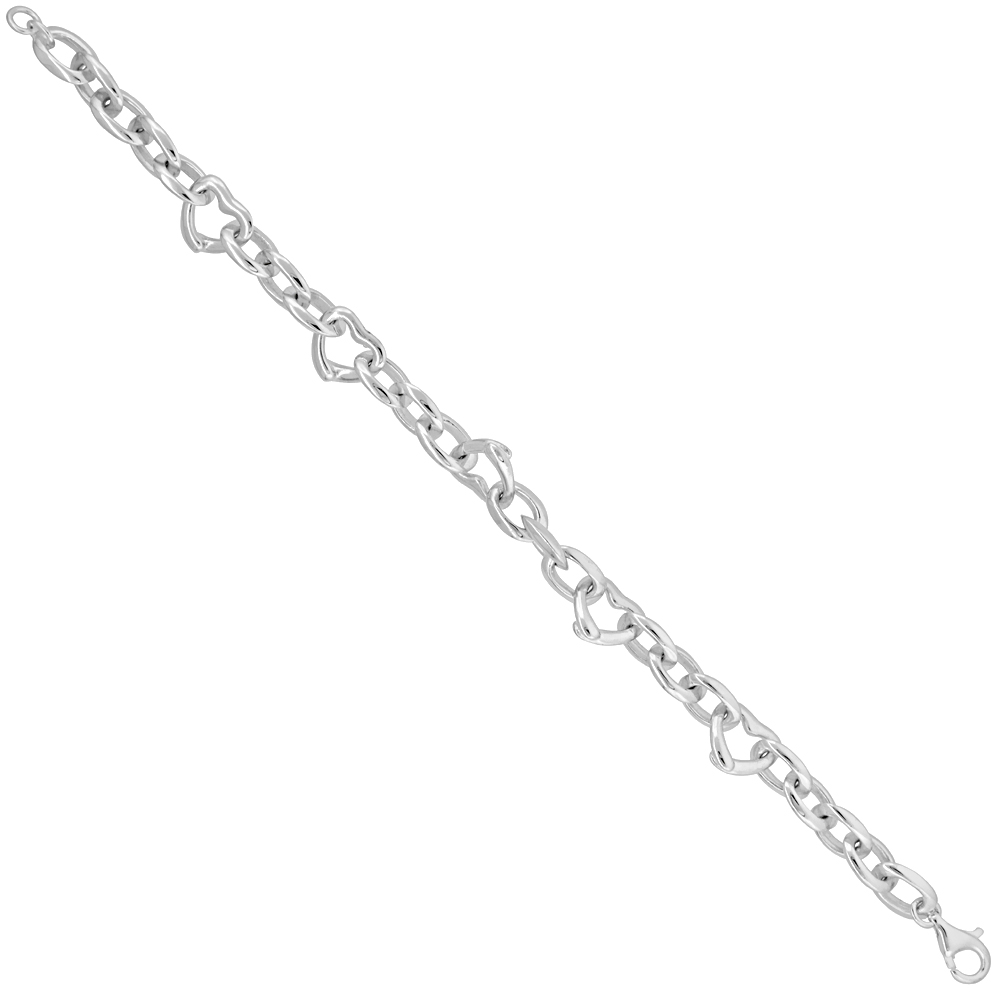 Sterling Silver String of Hearts Bracelet 3/8 inch wide, 7 inches long
