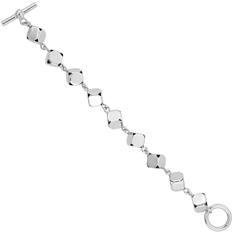 Sterling Silver 3D Cube Link Bracelet Glossy Finish 5/16 inch wide, 7 inches long