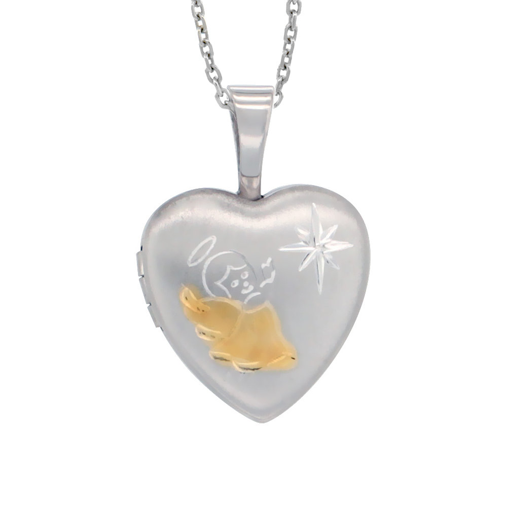 Very Tiny Sterling Silver Heart Locket Necklace Gold Angel 1/2 inch NO CHAIN