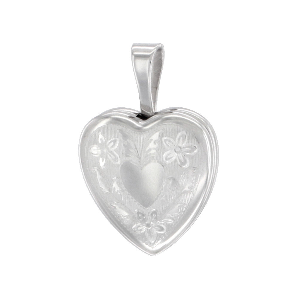 Very Tiny 1/2 inch Sterling Silver Heart Locket Pendant for Girls Floral Engraving NO CHAIN