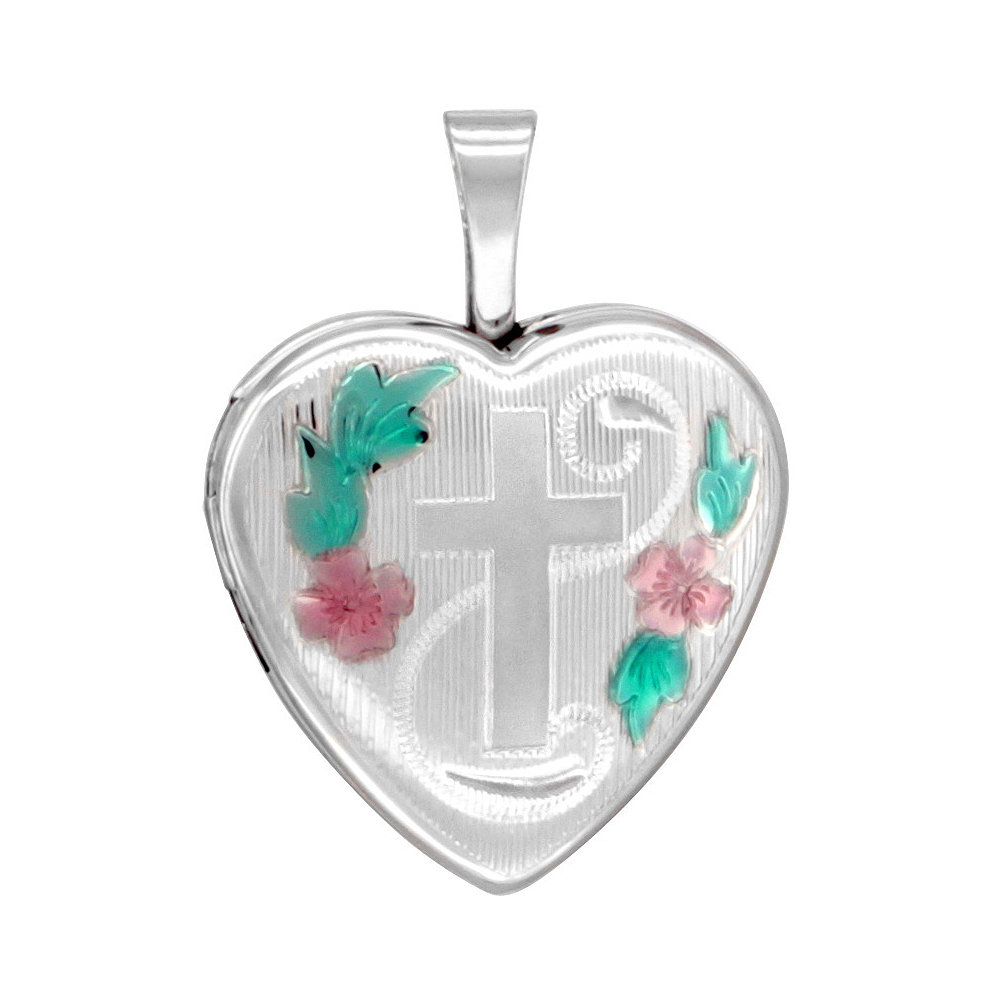 Small Sterling Silver Heart Locket Necklace Engraved Cross 5/8 inch NO CHAIN
