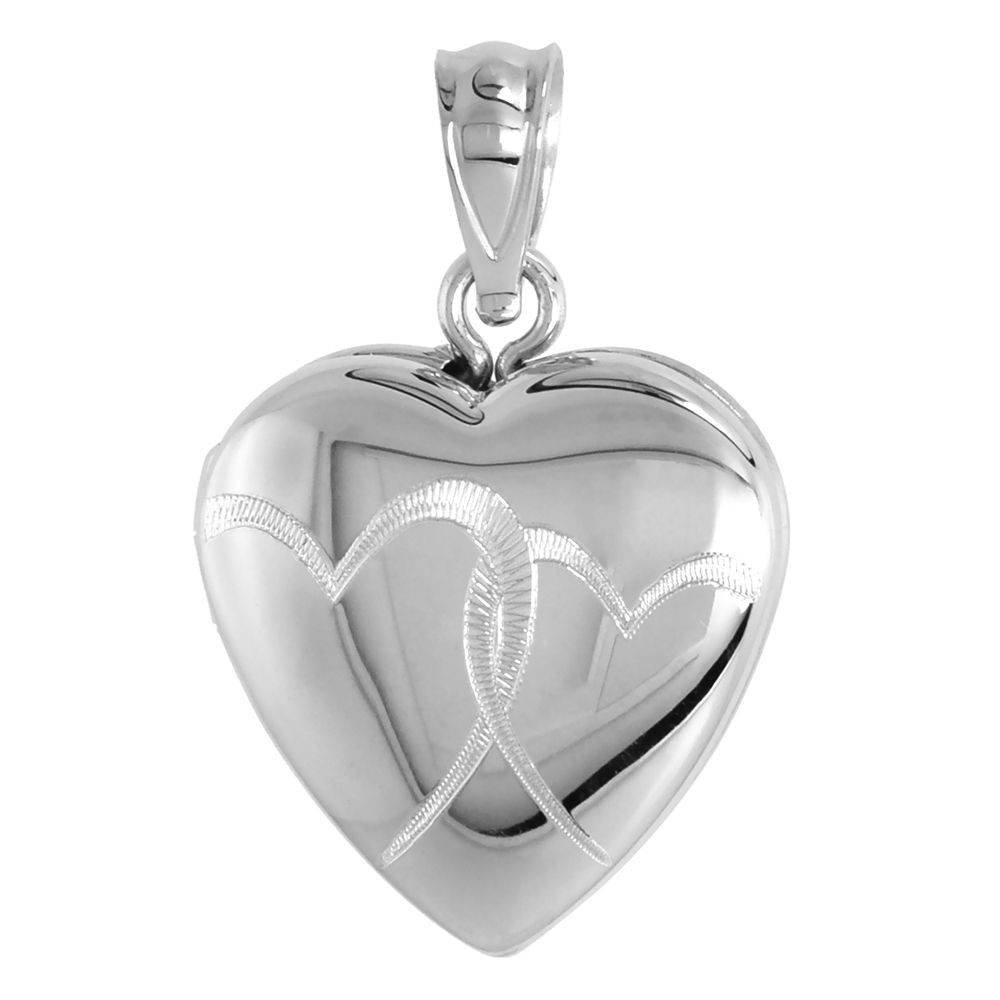 Small Sterling Silver Heart Locket Necklace Interlocking Hearts 5/8 inch NO CHAIN