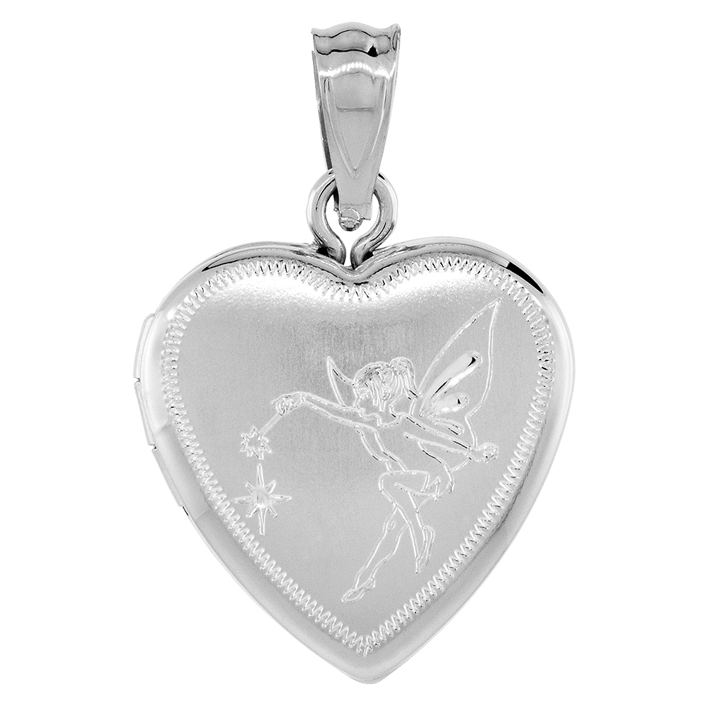 Small Sterling Silver Heart Locket Necklace Fairy 5/8 inch NO CHAIN