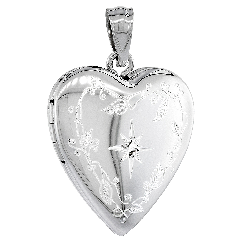 Sterling Silver Diamond Heart Locket Necklace Engraved Star 3/4 inch NO CHAIN