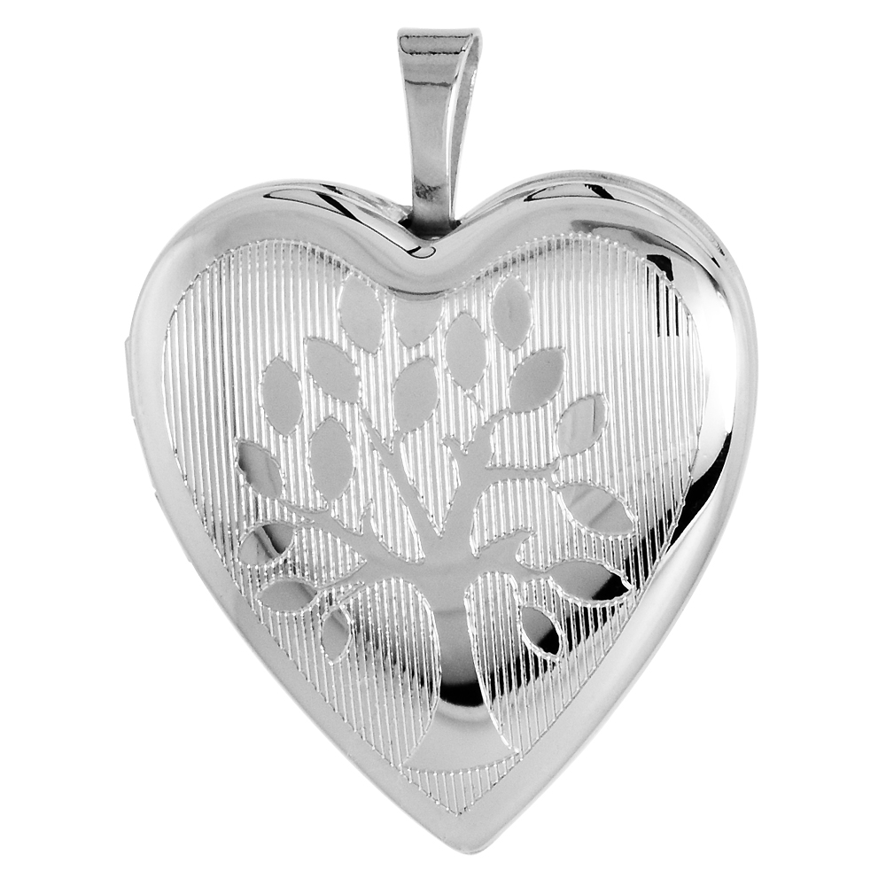 Sterling Silver Tree of Life Locket Necklace Heart Shape 3/4 inch NO CHAIN
