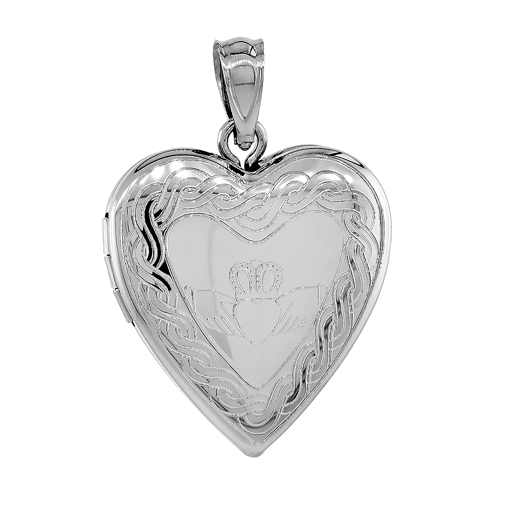 Sterling Silver Claddagh Locket Heart Shape Necklace Celtic Knot Motif 3/4 inch NO CHAIN