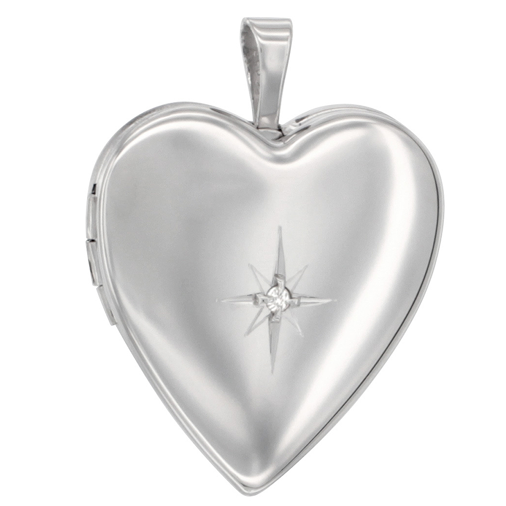 Sterling Silver Diamond Heart Locket Necklace 3/4 inch NO CHAIN