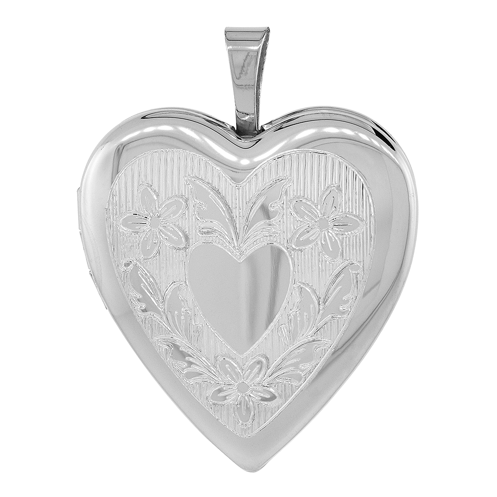 Sterling Silver Heart Locket Necklace Floral Engraving 3/4 inch NO CHAIN