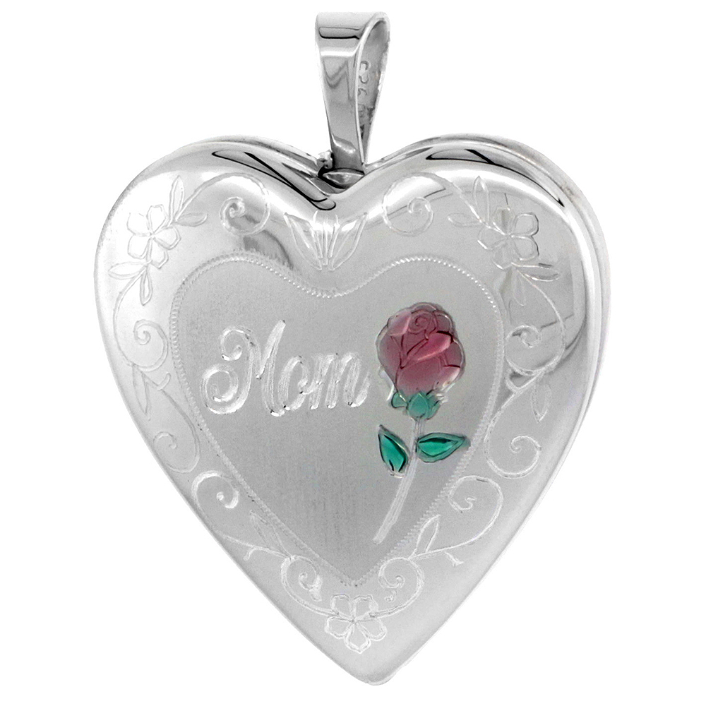 Sterling Silver Heart Locket Necklace MOM & Red Rose 3/4 inch NO CHAIN