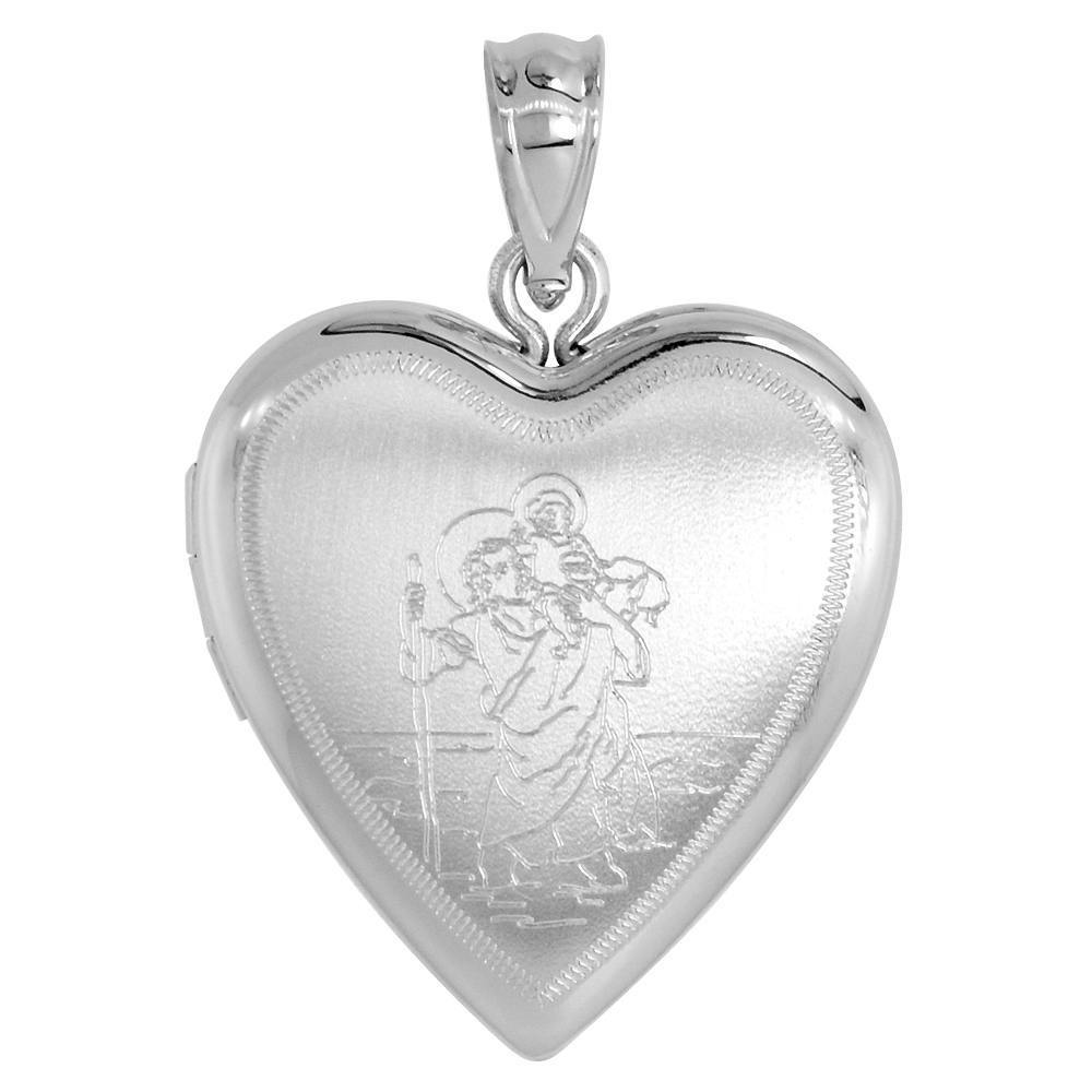 Sterling Silver St Christopher Locket Necklace Heart Shape 3/4 inch NO CHAIN