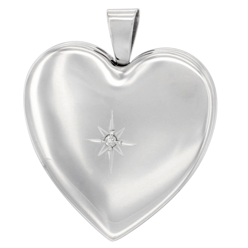Sterling Silver Diamond Heart Locket Necklace 4 Picture 1 inch NO CHAIN