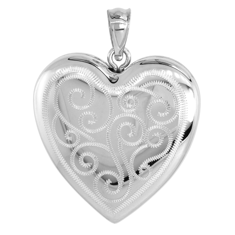 Sterling Silver Heart Locket Necklace 4 Picture Scroll Engraved 1 inch NO CHAIN