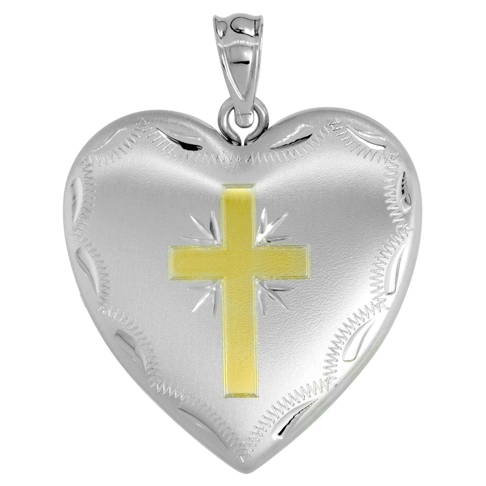 Sterling Silver Heart Locket Necklace 4 Picture Gold Cross 1 inch