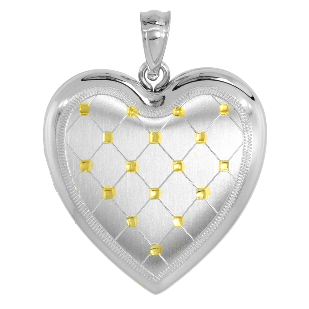 Sterling Silver Heart Locket Necklace 4 Picture Gold Quilt 1 inch