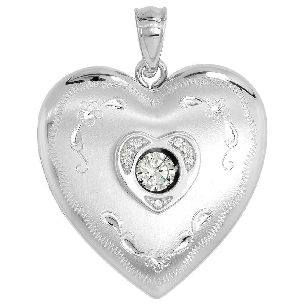 Sterling Silver Cubic Zirconia Dancing Diamond Heart Locket Necklace Floral Etching 1 inch