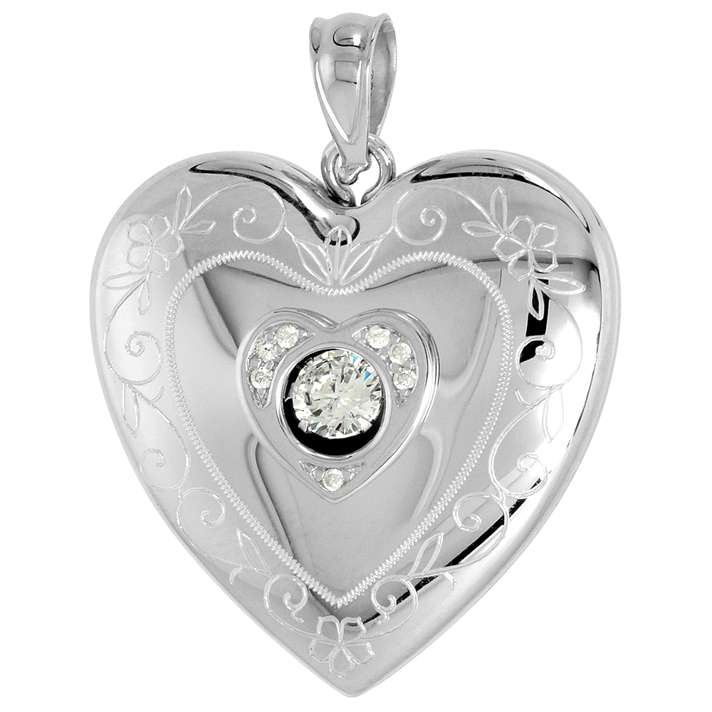 Sterling Silver Cubic Zirconia Dancing Diamond Heart Locket Necklace Scroll Etching 1 inch