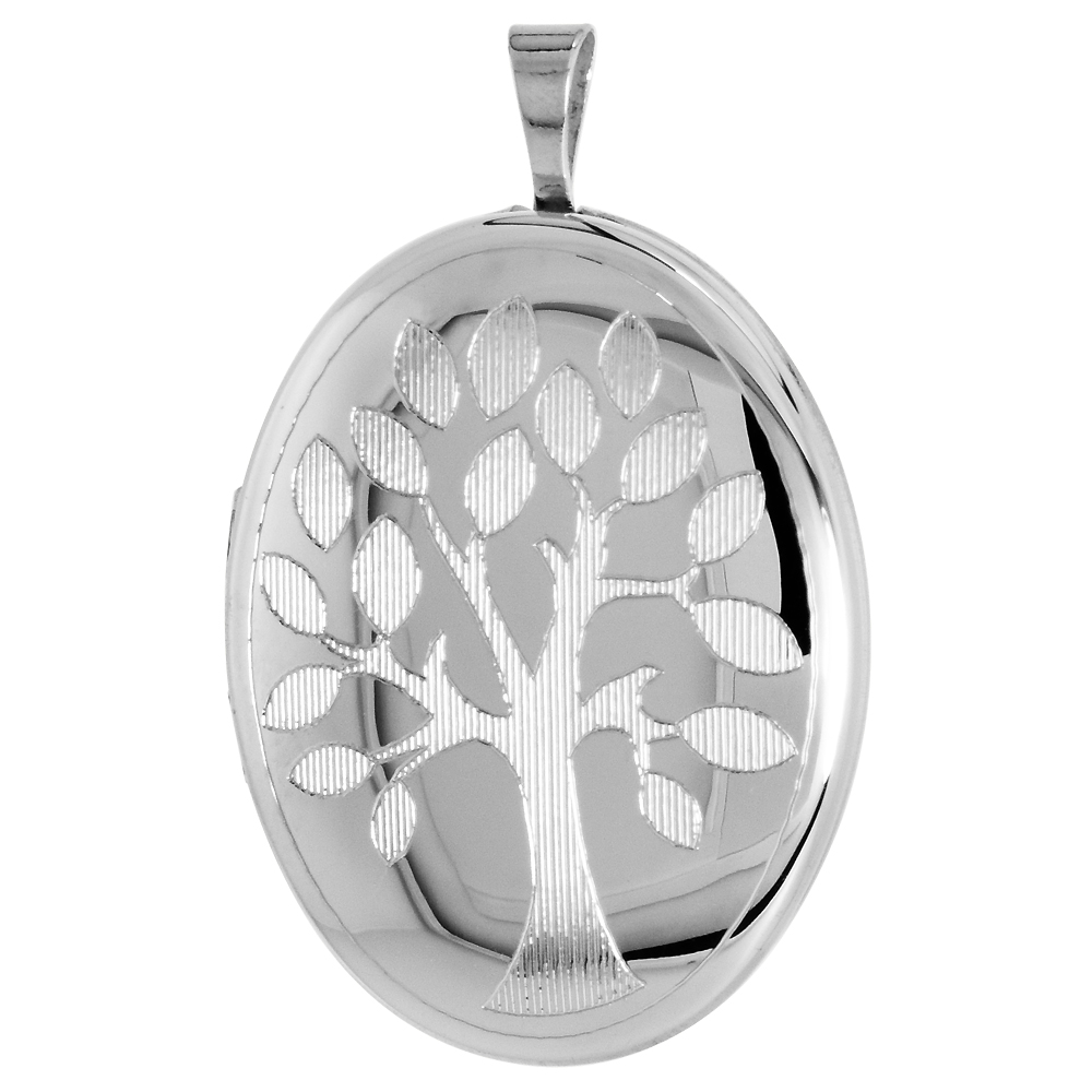 Sterling Silver Tree of Life Locket Necklace Oval Shape 1 1/32 inch 16 and 18 inches