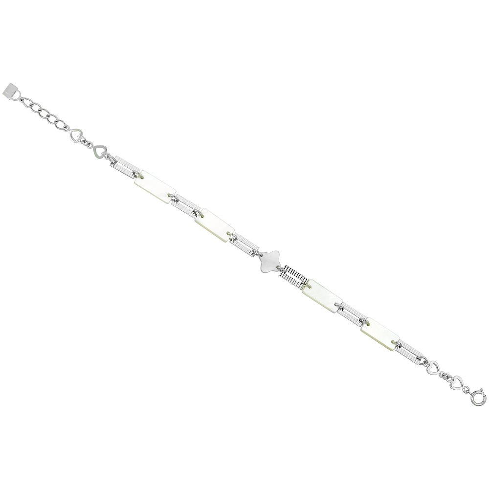 Sterling Silver Rectangular & Flower Mother of Pearl Bracelet with Teeny Hearts, 7 inch long + 0.5 inch extension