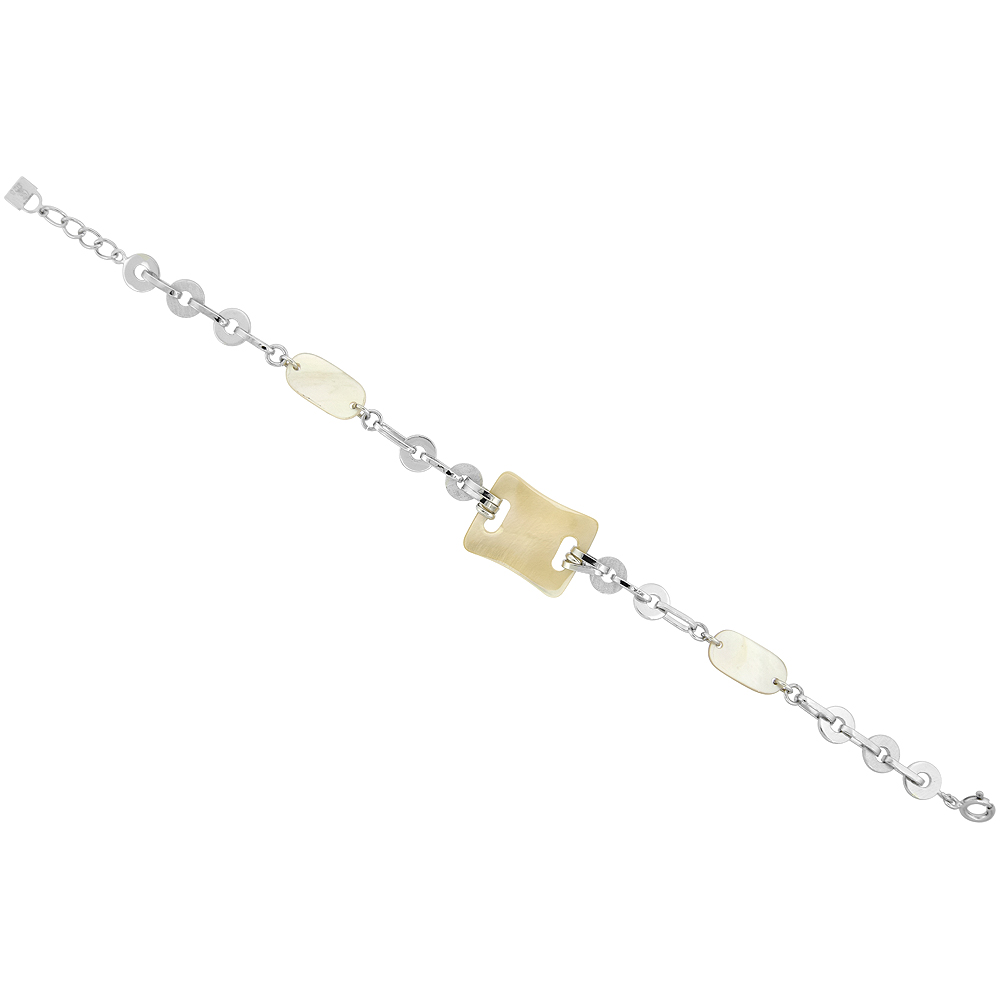 Sterling Silver Rectangular Mother of Pearl Bracelet, 7.5 inch long