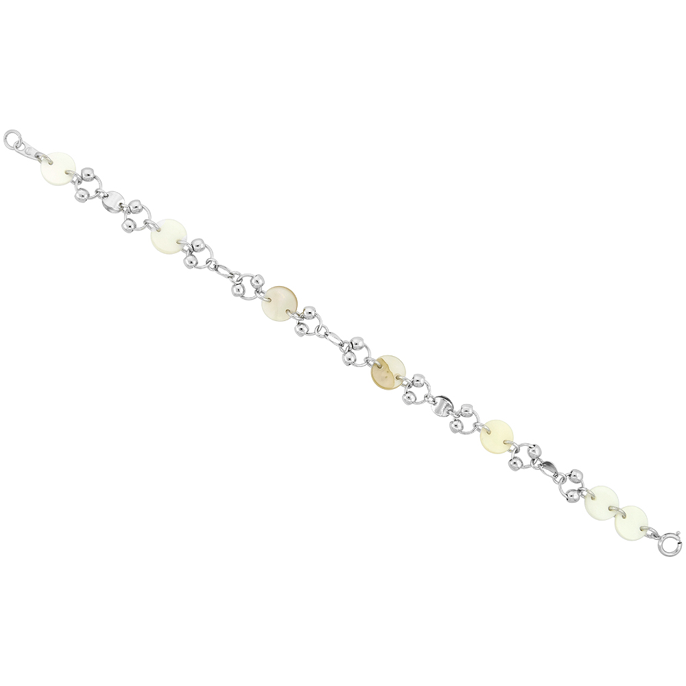 Sterling Silver Round White Shell Bracelet, 7 inch long